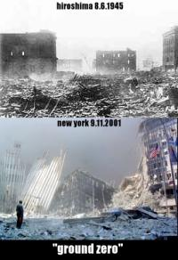 photo: The ruins of Hiroshima and the World Trade Center in New York