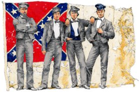 image: Confederate soldiers in front of the second flag of the Confederacy