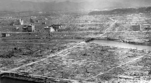 photo: an aerial view of Hiroshima, leveled