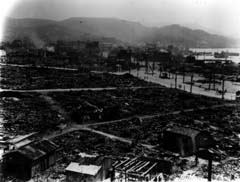 photo: leveled houses around the Nagasaki railroad station