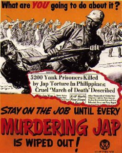 "poster: bestial caricature of Japanese soldier slams a kneeling American prisoner in the head with a rifle butt while other soldiers force men to march in the background. Top caption: ""What are YOU going to do about it?"" Newspaper headline reading: ""5200 Yank Prisoners Killed by Jap Torture in Philippines. Cruel 'March of Death' Described."" Bottom caption: ""STAY ON THE JOB until every MURDERING JAP is wiped out!"""