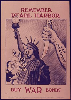 "poster: slant-eyed caricature of a Japanese diplomat with a lupine grine, offering an olive branch labeled ""PEACE"" to the Statue of Liberty, while a huge, sharp-nailed arm with the label ""JAP TREACHERY"" raises a knife behind her back with a swasitka on the hilt and ""Dec. 7th"" on the blade. Caption: Remember Pearl Harbor. Buy WAR Bonds."""