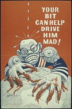 "poster: a lurid caricature of Tojo with blood dripping from his fingers, clutching at Australia and the South Pacific on the globe. Drops on his head seem to be enraging him. Caption: ""Your bit can help drive him mad!"""
