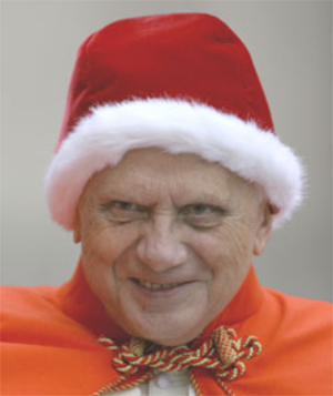 photo: Pope Benedict, wearing a red fur-lined cap, looking for all the world like Count Dracula playing at Santa Claus