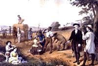 painting: George Washington driving his slaves