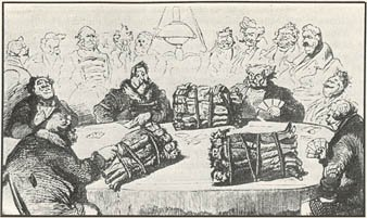 cartoon: a card game between Russian lords, with bundled serfs thrown onto the table for bets in place of chips