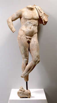 Nude figure of a young man from a funerary relief: Greek, Attic (c. 330 BCE)