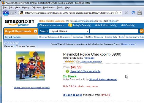 Playmobil Police Checkpoint. Available from Amazon.com for $49.99.
