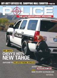 Here's a cover with a photo of a patrol officer crouched in combat posture behind a huge SUV with police markings, with her handgun drawn and pointed at a target off-camera to the left.