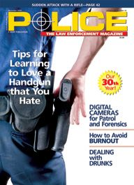 Here's a cover of a patrol cop's rear end and gun holster, with the cop about to pull the handgun out of the holster.