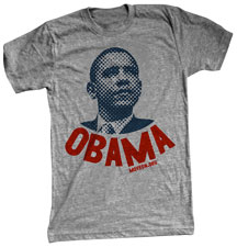 The shirt has a giant head of Barack Obama staring off to the horizon, with OBAMA printed in big block letters underneath.