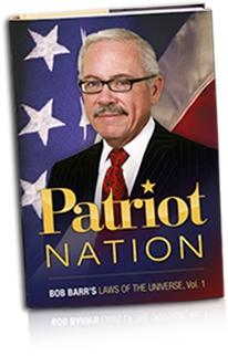 Here's an image of the cover of Bob Barr's campaign book, called 'Patriot Nation', featuring Bob Barr in front of a background completely filled with the U.S. government's flag.