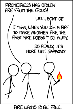 Here's an xkcd comic with two figures confronting a third, who is holding a brand with flame at the top.