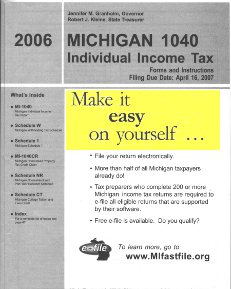 Here's the 2006 Michigan 1040 booklet, reading: Individual Income Tax Forms and Instructions. Make it easy on yourself …