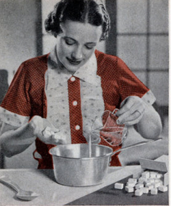 from a 1950s advertisement, featuring a housewife attentively mixing ingredients for baking