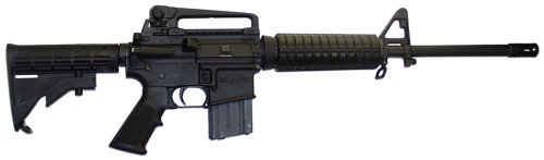 an black AR-15 assault rifle