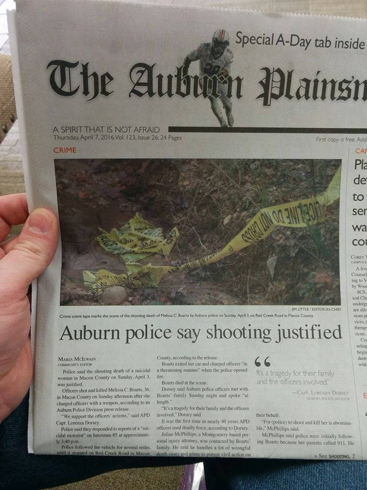 "Here's a copy of the front page of the Auburn Plainsman, with the headline ""AUBURN POLICE SAY SHOOTING JUSTIFIED."""