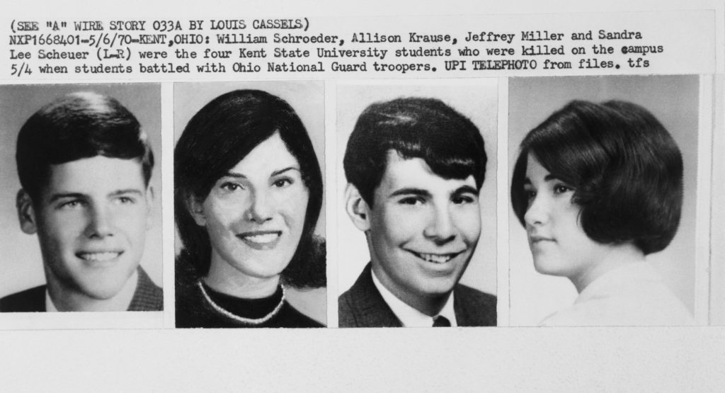06 May 1970, Kent, Ohio, USA --- Kent, Ohio: William Schraeder, Allison Krause, Jeffrey Miller, and Sandra Lee Scheuer, (L-R), four Kent State University students killed on campus when students battled with Ohio National Guard troopers. --- Image by © Bettmann/CORBIS