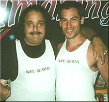 photo: James Doolin and Ron Jeremy yuk it up at domestic violence