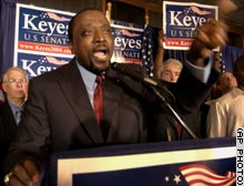 photo: Alan Keyes accepts the Republican nomination for Senator of Illinois in August 2004