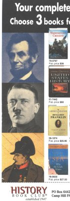 Pictured: a detail from a History Book Club advertisement, with three portraits in the left margin: a photograph of Abraham Lincoln, a photograph of Adolf Hitler, and an illustration of Napoleon Bonaparte