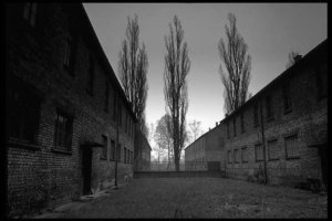 photo: Hospital block at Auschwitz; the last stage before the gas chambers